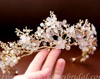 SALE-Gold Goddess Wedding Crown Circlet  with Gold Leaf,Small Flowers and Little Butterflies, Gold crown with little butterfly and Flowers