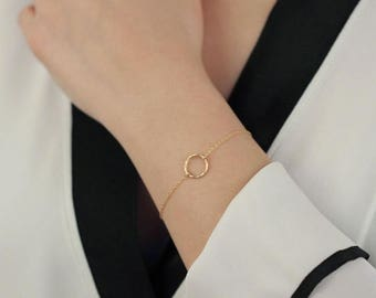 ON SALE Open circle 14k gold filled circle charm - 14k gold filled bracelet - simple everyday jewelry
