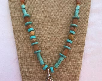 Stone bead necklace with matching earrings