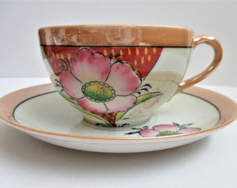 Peach Lustreware Japanese Tea Cup / Saucer Pink Hand Painted Floral Eggshell Porcelain Collectible Japanese Teacup Hand Painted Floral