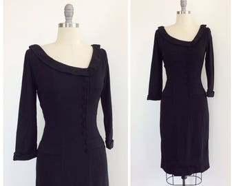 40s Black Crepe Dress / 1940s Vintage LBD Long Sleeve Dress / Small / Size 4