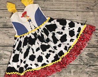 Disney inspired appliqued Cowgirl Jessie Toy Story sweetheart ruffle strap dress sizes 2-14