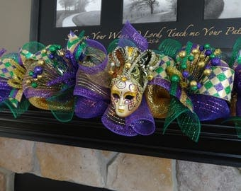 Mardi Gras Garland, Mardi Gras Decoration, Mantel Garland, Winter Garland, Fleur De Lis, Fireplace Decor, Mardi Gras Doorway Garland