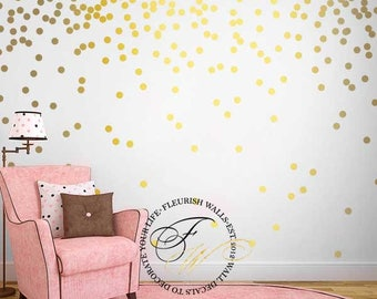 Etonnant Gold Polka Dot Wall Decals   Gold Wall Decal Dots   Girls Room Pattern Wall  Decal