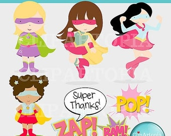 50% OFF SALE Super Hero Girls Supergirls Cute Digital Clipart for Card Design, Scrapbooking, and Invitations / INSTANT Download
