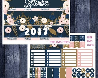 Weekend Sale September Floral Monthly Stickers for Erin Condren Life Planner