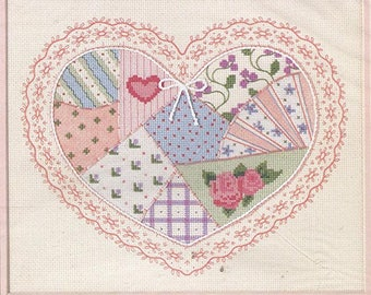 Dimensions Pastel Quilted Heart by Pat Peifer No Count Cross Stitch Kit