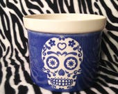 Large Blue Tribal Sugar Skull DOD Day of the Dead Flower Pot Planter Handmade OHIO USA Ceramic Pottery