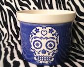 Large Blue Tribal Sugar Skull DOD Day of the Dead Flower Pot Planter Handmade OHIO USA Ceramic Pottery