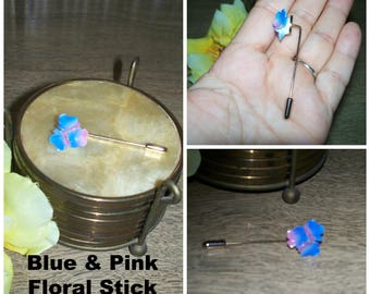 Vintage Mid Century Blue with Pink 3 Flower Retro Gold Tone Hardware Stick Pin Brooch / Floral Costume Jewelry