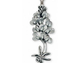 Bluebonnet Pendant Jewelry Sterling Silver Handmade Texas Wildflower Pendant BB7-NSP