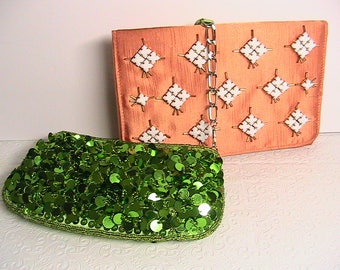 Vintage Clutch Purses, Ladies/Women's Vintage Purses, Orange Shimmer, Green Sequin, RSVP and Special Occasions Saugus Shoe