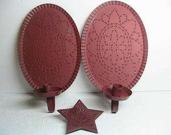 Candle Stick Wall Sconces, Red Oval Punched Tin Candle Holders and Punched Tin Star Night Light Cover