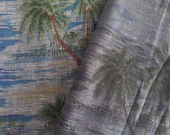 1m Tropical Island Print Chambray