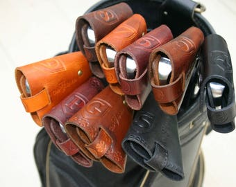 ClubShields (Mahogany Color)  Custom Made Leather Golf Head Covers