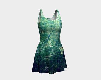 Green Flare Dress, Skater Dress, Teen Clothing, Gothic dress, Reversible dress, Forest Flare Dress, Green Skater Dress, Spandex Mini Dress