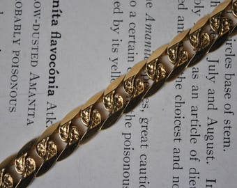 Vintage 10K Yellow Gold Bracelet - 1970s Solid Curb Link Chain