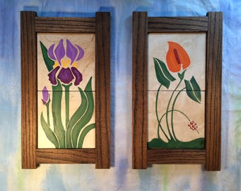 Art Nouveau Hand Painted Iris and Lily Framed Art Tiles with Hand Made Oak Frames, Purple Iris and Orange Lily Painted on Tile