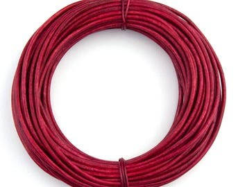 Pink Hot Natural Dye Round Leather Cord 1.5mm 100 meters (109 yards)
