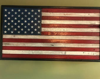 Framed Primitive American Flag