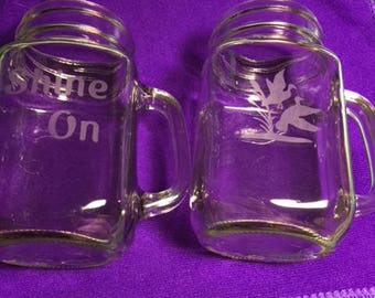 Personalized Mason Jar Mugs, Mason Jars with Etching, Etched Mason Jars, Etched Clear Glass Mugs, Clear Glass Mugs with Personal Etching
