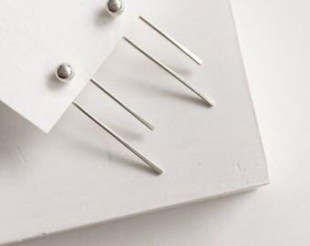 Edgy Bar Earrings, Silver Fork Earrings, Silver Thin Bar, Minimalist Earrings, Silver Bar Ear Jackets, Sterling Silver Geometric Earrings
