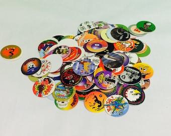 Vintage Pogs, 1990s Pogs Game, Stack N Smack, Street Kaps, Pocahontas, Lion King, Animaniacs, Poison, Cool Pogs, McDonalds,1990s Pop Culture