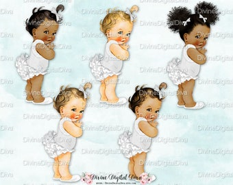 Ruffle Pants Pony White & Silver | Vintage Baby Girl  | 3 Skin Tones | Clipart Instant Download