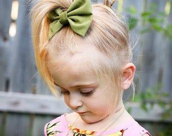 Olive Bow | Fall Bow | Green Bow |Handmade Fabric Hair Clip | Headband Bows
