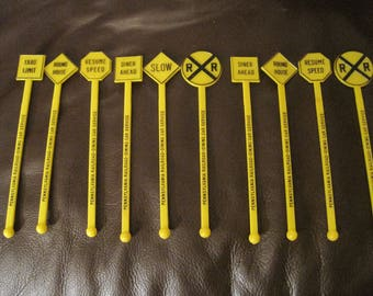 Vintage Lot of 10 Pennsylvania Railroad Dining CarSwizzle Sticks