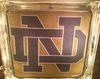 Notre Dame Fighting Irish Lighted Glass Block, Glass Light