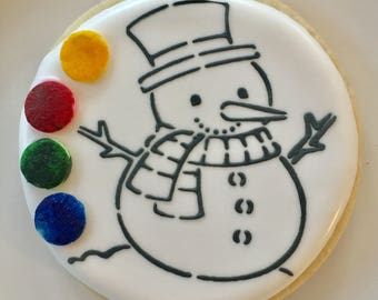 Paint your own cookies snowman Christmas holiday craft cookies.