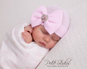 Newborn Hospital Hat Bow Baby Girl Hospital Hat Beanie with Bow – PINK