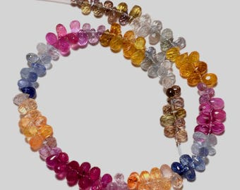 """8"""" 100% natural multi sapphire faceted teardrop gemstone loose beads4-4.5mm 46ct GW3050"""