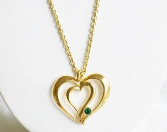 """Vintage Avon Heart Necklace - """"Romantic  Birthstone Pendant"""" - Gold Tone Double Heart May Birthstone Necklace - Birthday Gift for Her"""