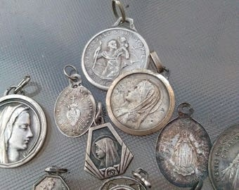 Lot 10pcs 19th century french antique sterling silver St christoph Sacred heart religious medals  pendant cross reliquary