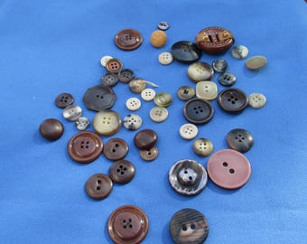 Lot Of Assorted Brown Grey Beige Colored Buttons