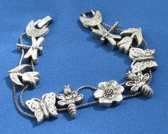 Vintage Tofa Dragonflies Butterflies Flowers Slide Bracelet