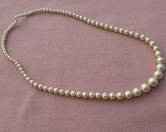 Vintage White Faux Pearl Beaded Necklace Missing Clasp & Clasp Ring