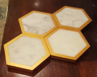 Hand Painted Marble Coasters Copper/Gold, Set of 4