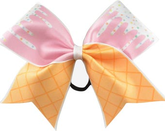 Ice Cream Cone Pink Cheer Bow