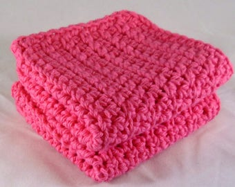 Pink Washcloth Spa Set, Handmade Washcloth, Pink Dish Towels, Pink Dishcloth, Pink Facial Cloths, Pink Crochet Washcloth