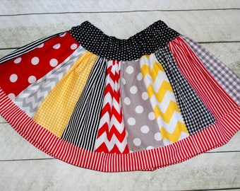 Girls movie popcorn skirt Movie birthday skirt Popcorn skirt Red black gray and yellow skirt Little girl twirly skirt Back to school skirt