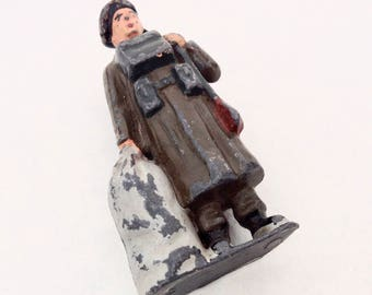 Lead Soldier Figure, Duffle Bag, Made in England, Cast Metal, Lead Miniatures