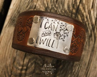 I can and i will - hand stamped - leather belt cuff