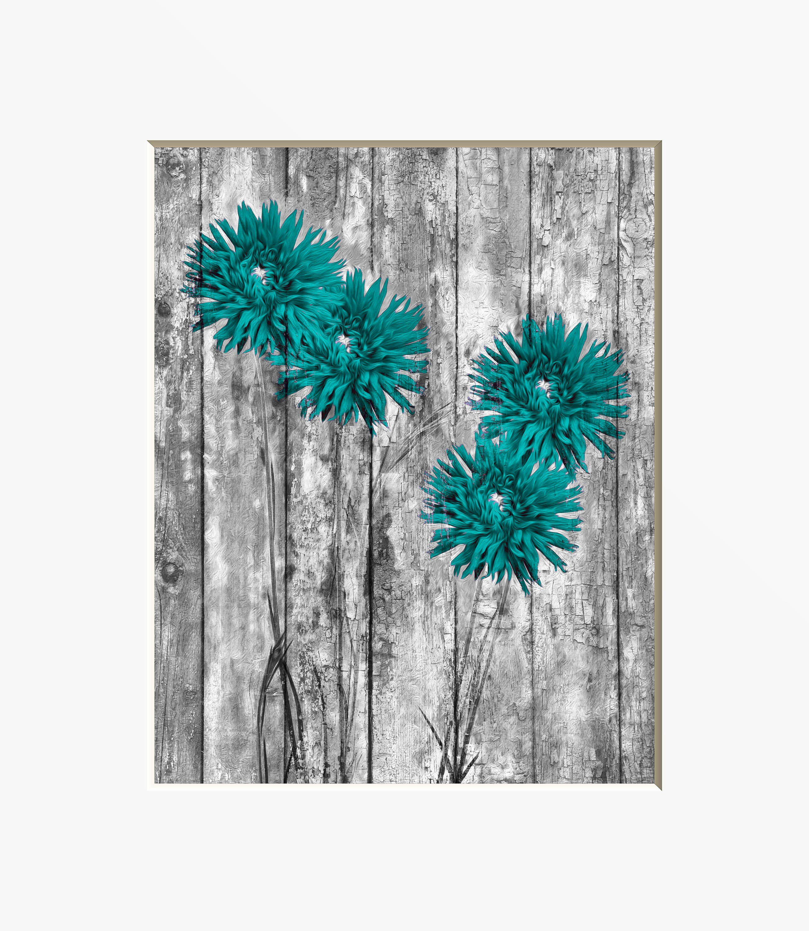 rustic teal flower wall art country farmhouse teal home decor. Black Bedroom Furniture Sets. Home Design Ideas