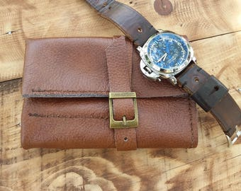 Travel Watch Case Leather Watch Roll Watch Box Travel Watch Storage, Leather Watch Case, Brown Soft Leather Roll, Men Watch Holder