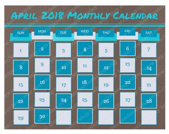 April 2018 Monthly Calendar Digital Printable File JPG PDF Teal Brown Blue Month At A Glance Landscape Wide April Calendar Month of April 18