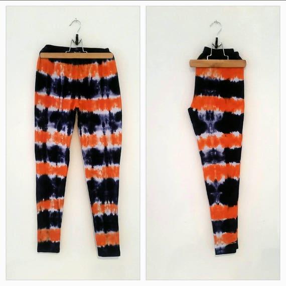 Tie Dye Leggings in Deep Orange & Navy/Hand Dyed/Womens Tie Dye/Eco-Friendly Dying