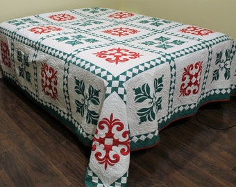Green N Red Applique King Size Quilt